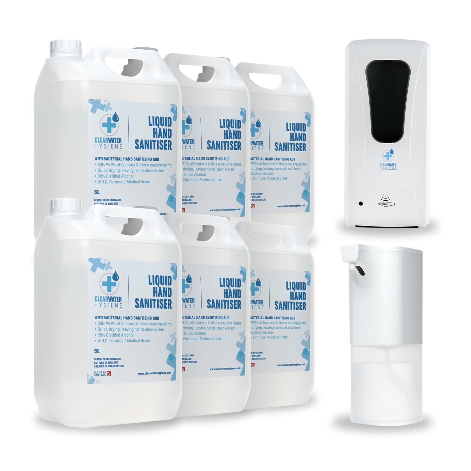 Automatic Dispenser + 30 Litre Bulk Hand Sanitiser Bundle (Certified Medical Grade / Made in the UK)
