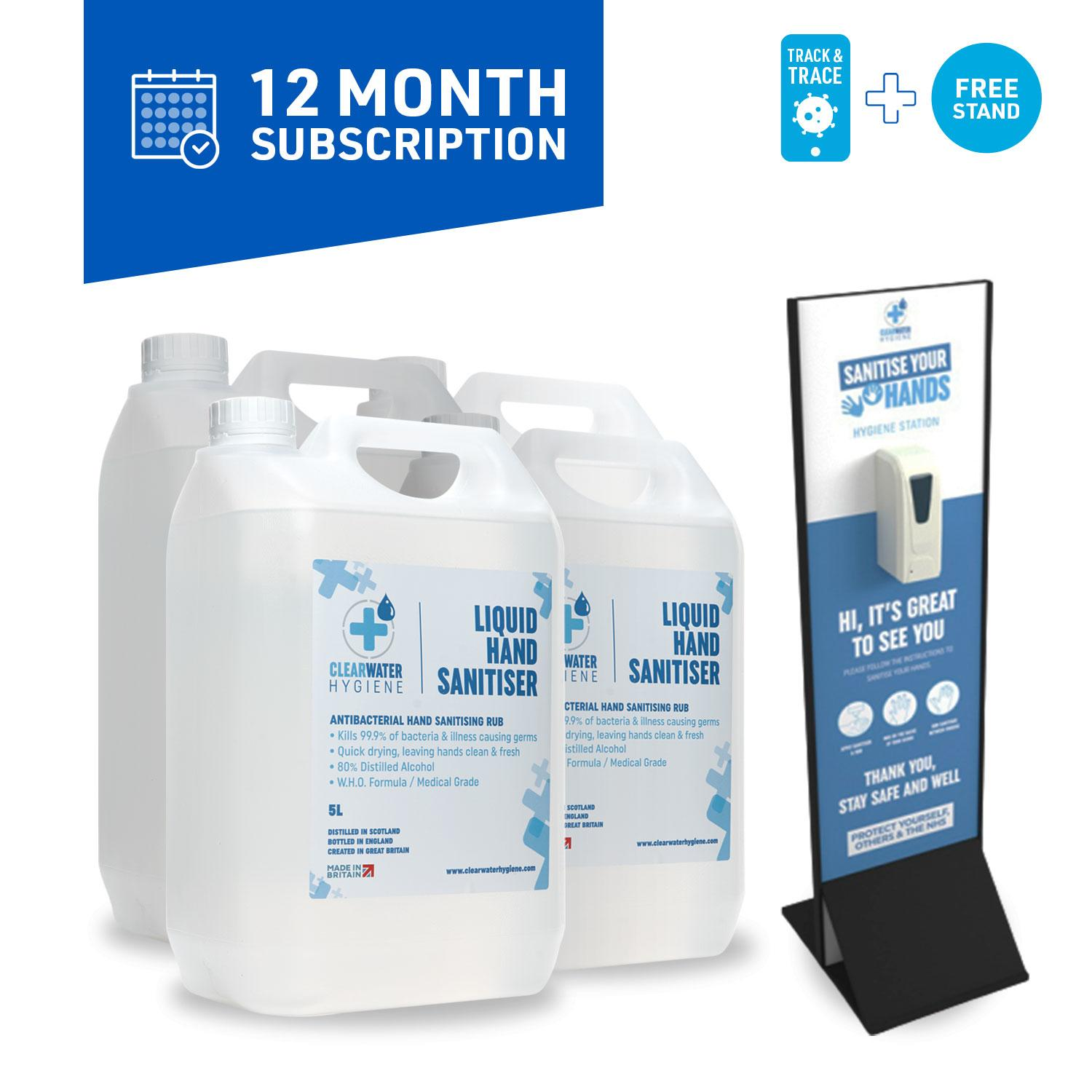 Managed Service (12 Month Subscription): 20 Litres per month + Automatic Dispenser Stand
