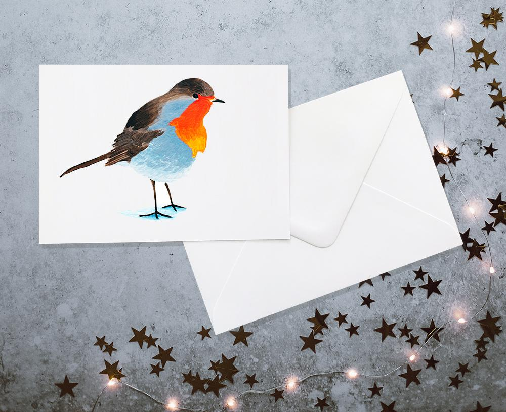 Robin watercolour christmas card