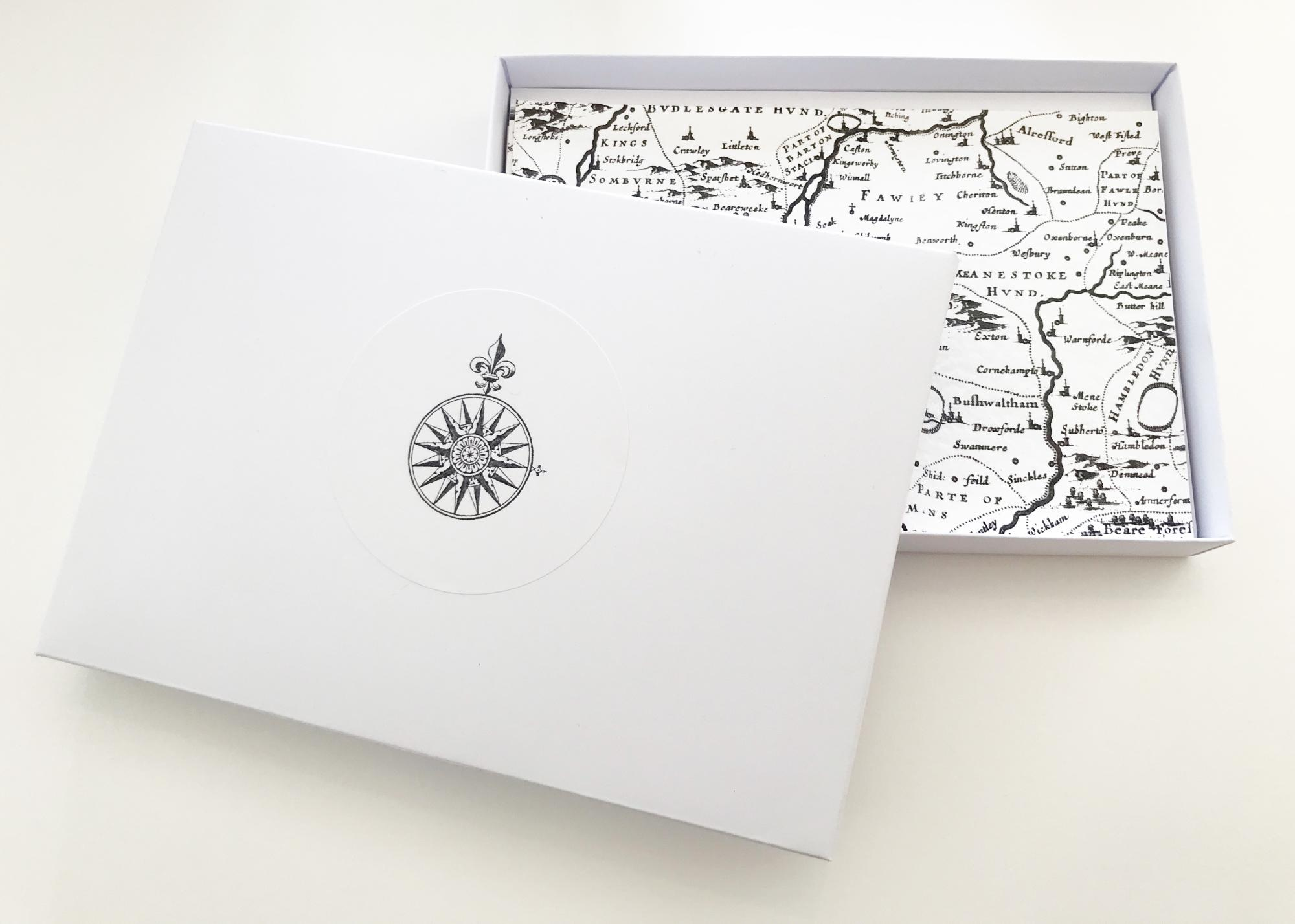 A6 notecards with map