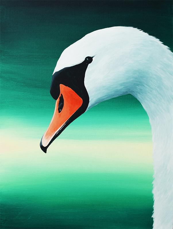Swan acrylic painting large