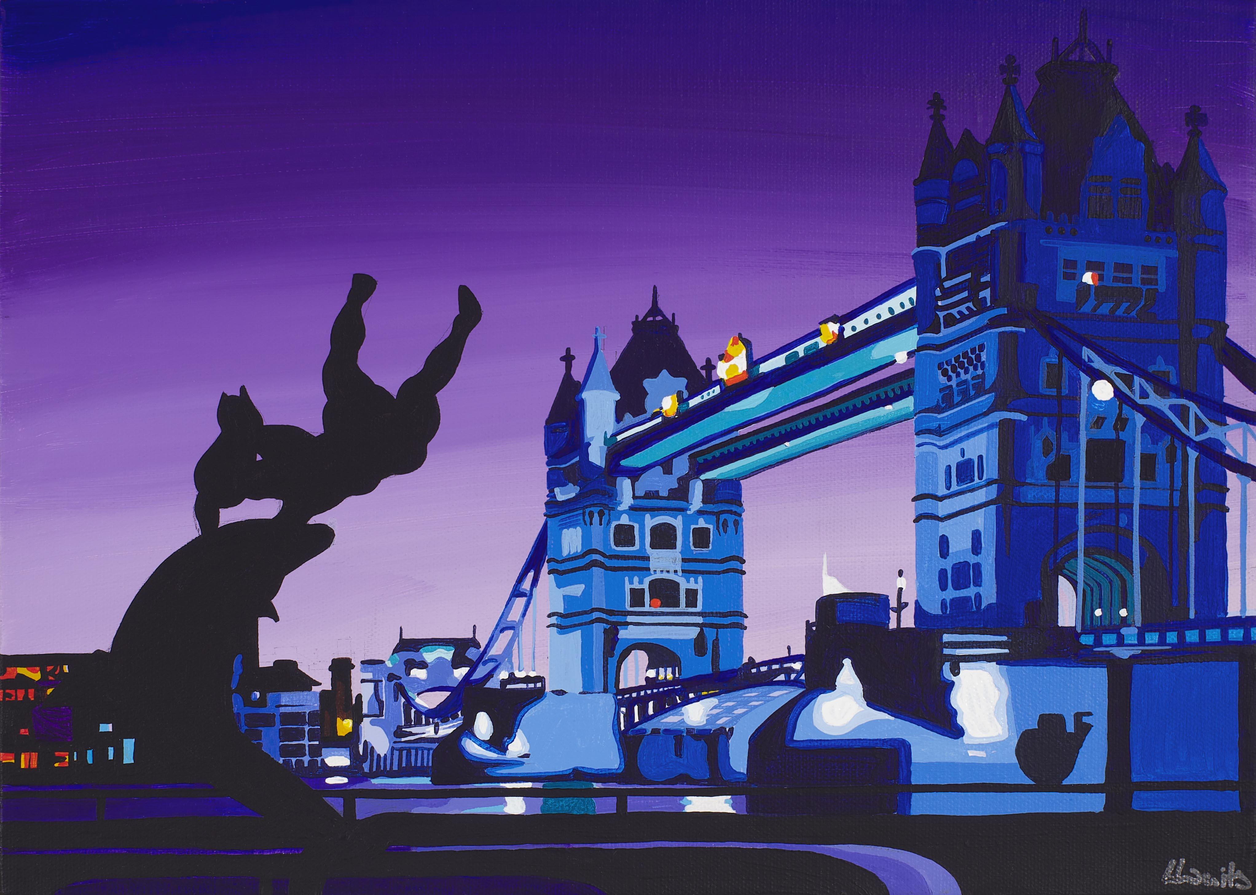 Tower Bridge in London nightime painting on canvas