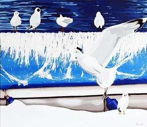 Seagulls painting print