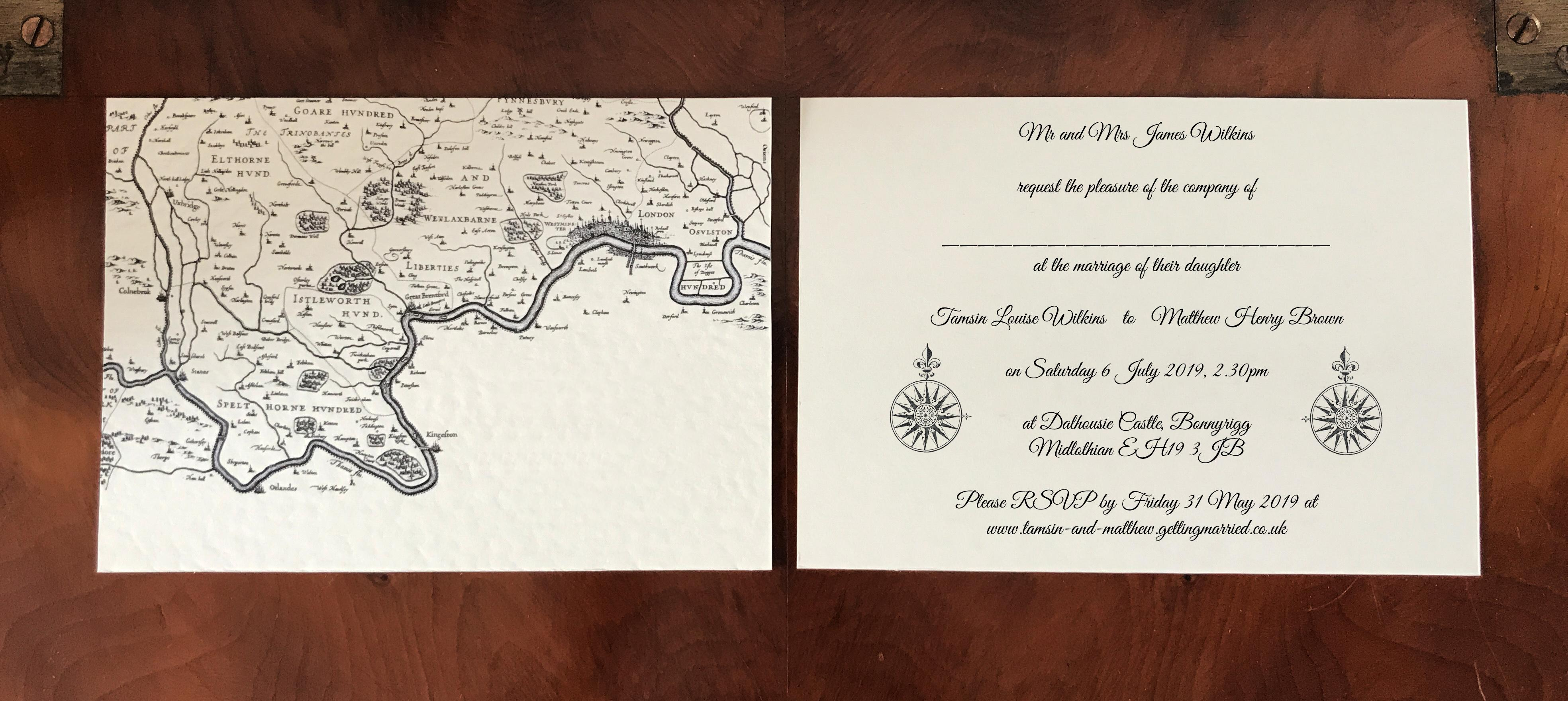 Historical Map Wedding Invite
