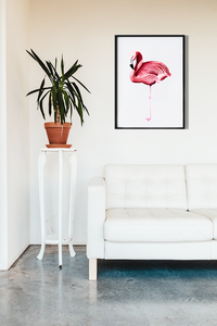Flamingo art print in a minimalist living room by Lucinda Watt