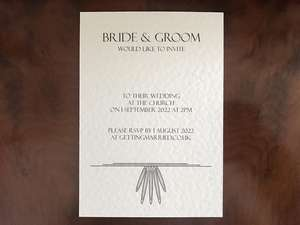 Ivory A6 Wedding Invitation in Art Deco style