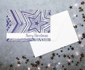 Indigo Star Christmas Card by Lucinda Watt
