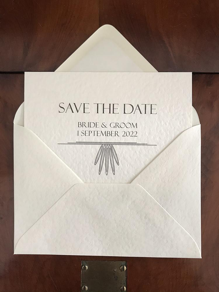 Contemporary Art Deco Save the Date A6