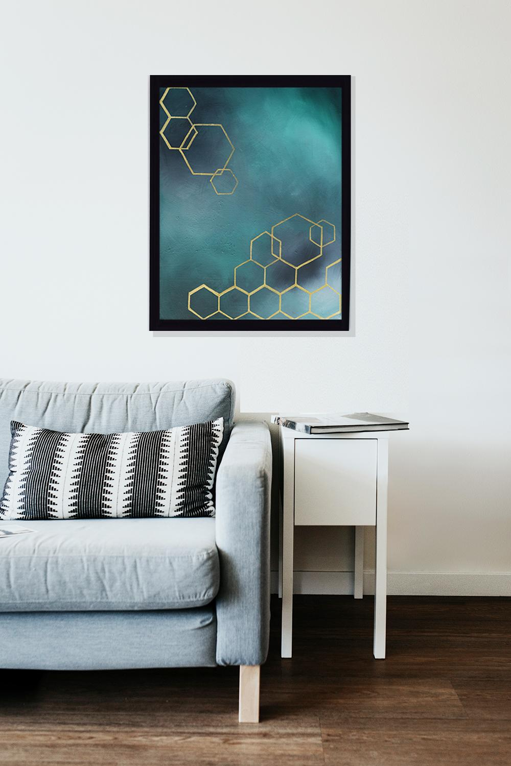 Hexagon art print by Winchester artist Lucinda Watt