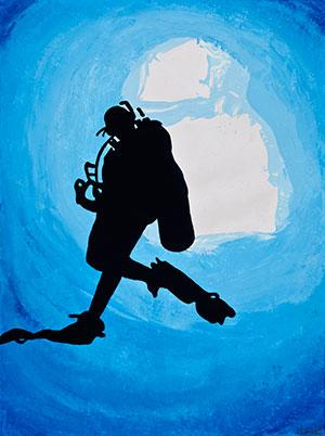 Deep Sea Diver painting