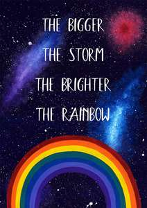 Rainbow art print with inspirational quote
