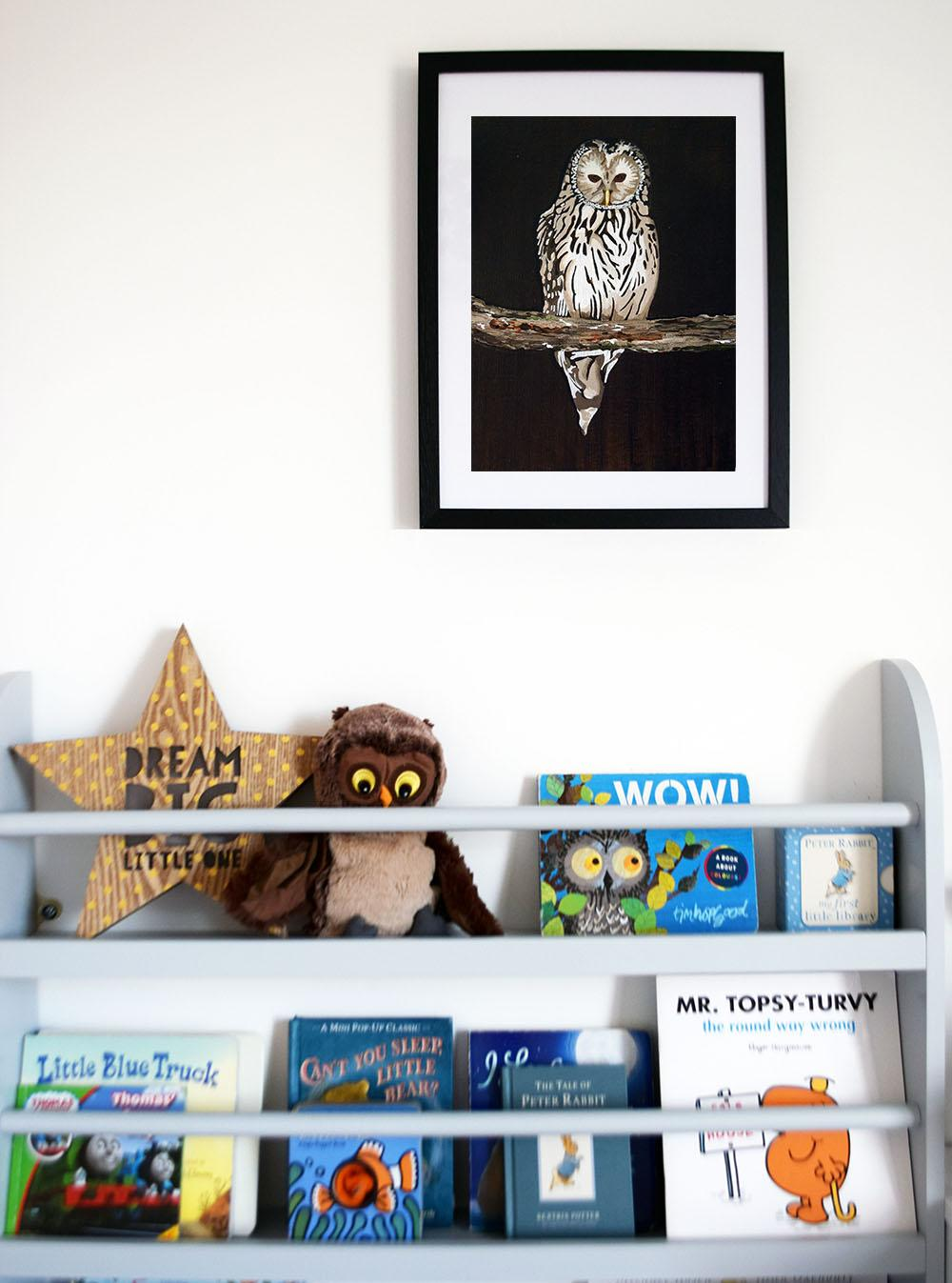 Owl painting for kids bedroom