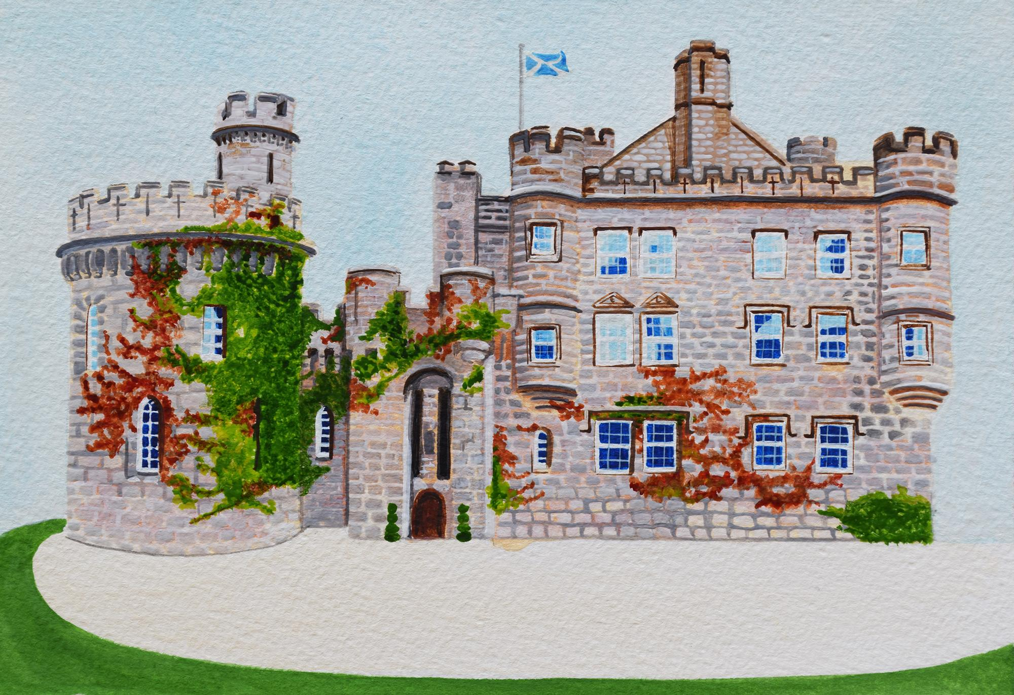 Wedding Invite Illustration Dalhousie Castle