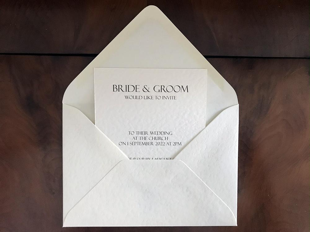 Ivory Wedding Invitation Art Deco with envelope