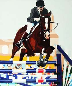 Horse showjumping commissioned painting