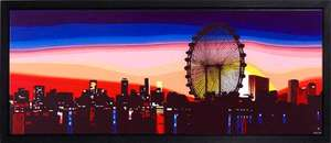 City skyline at sunset painting
