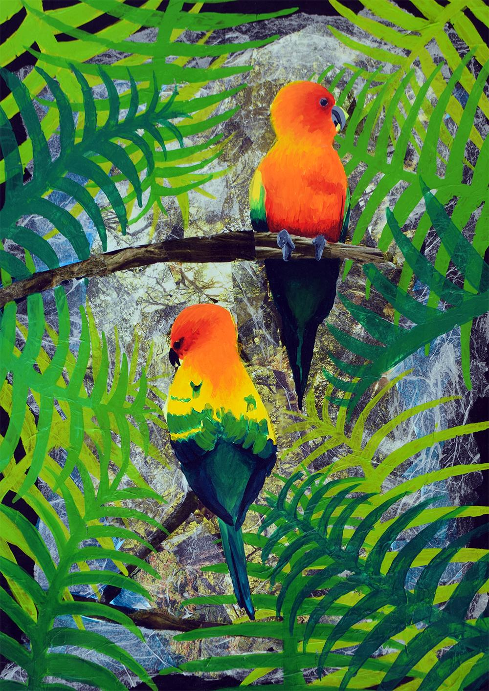 Mixed media painting of two parrots sitting on branches in a tropical paradise