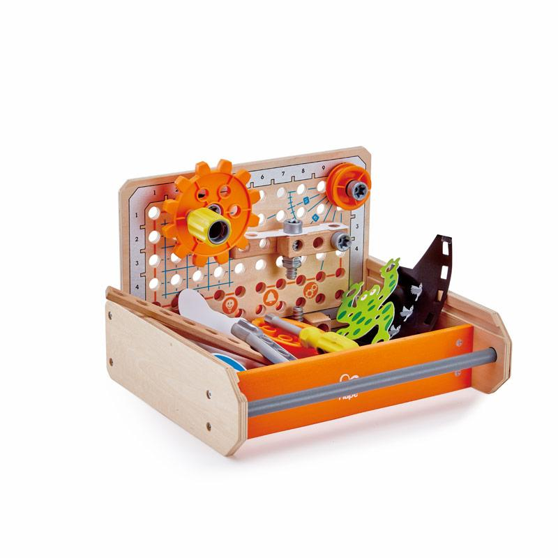 Portable Junior toolbox for young inventors.Tools and implements suitable for childre's hands to construct over 10 experiments.