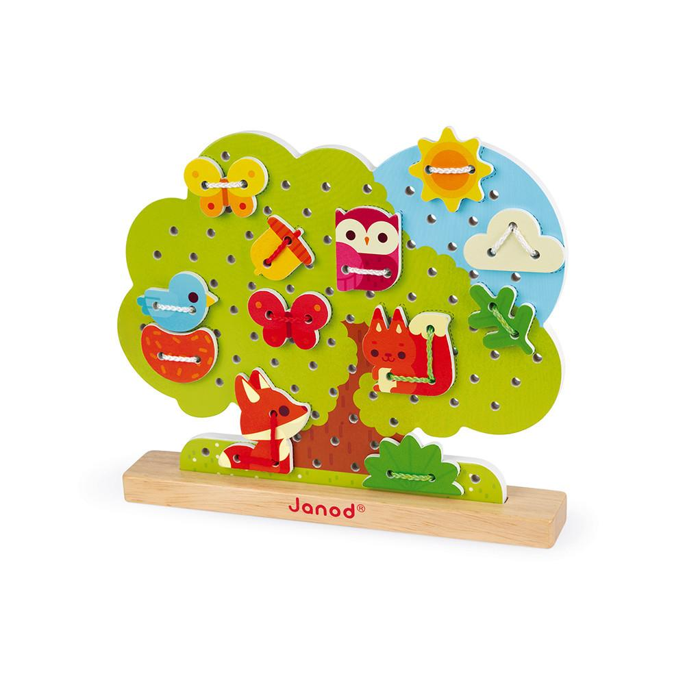 Lace Up Wooden Tree with animal and leaf shapes to lace up.