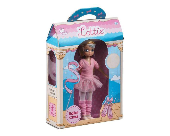 Lottie doll in ballet outfit in manufacturer's packaging.