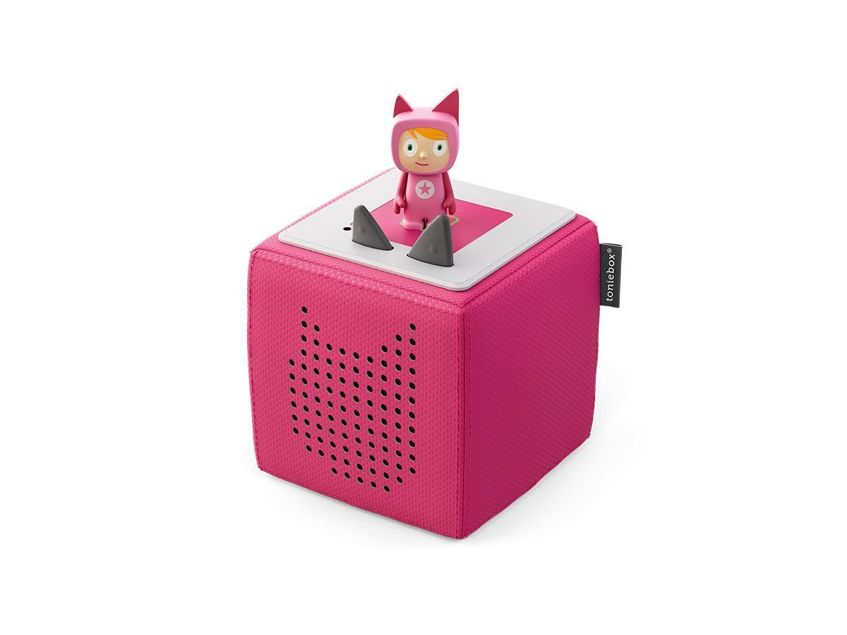 Pink Toniebox with figure on top