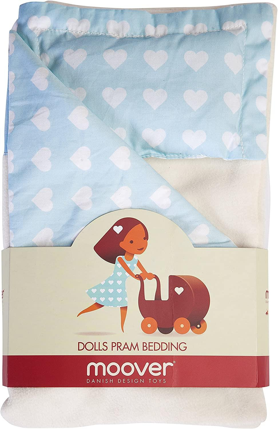 Image showing blue and white heart-patterned dolls pram bedding.