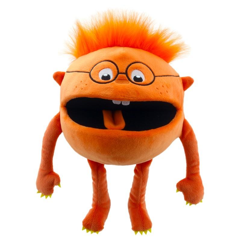 Cute, orange monster hand puppet