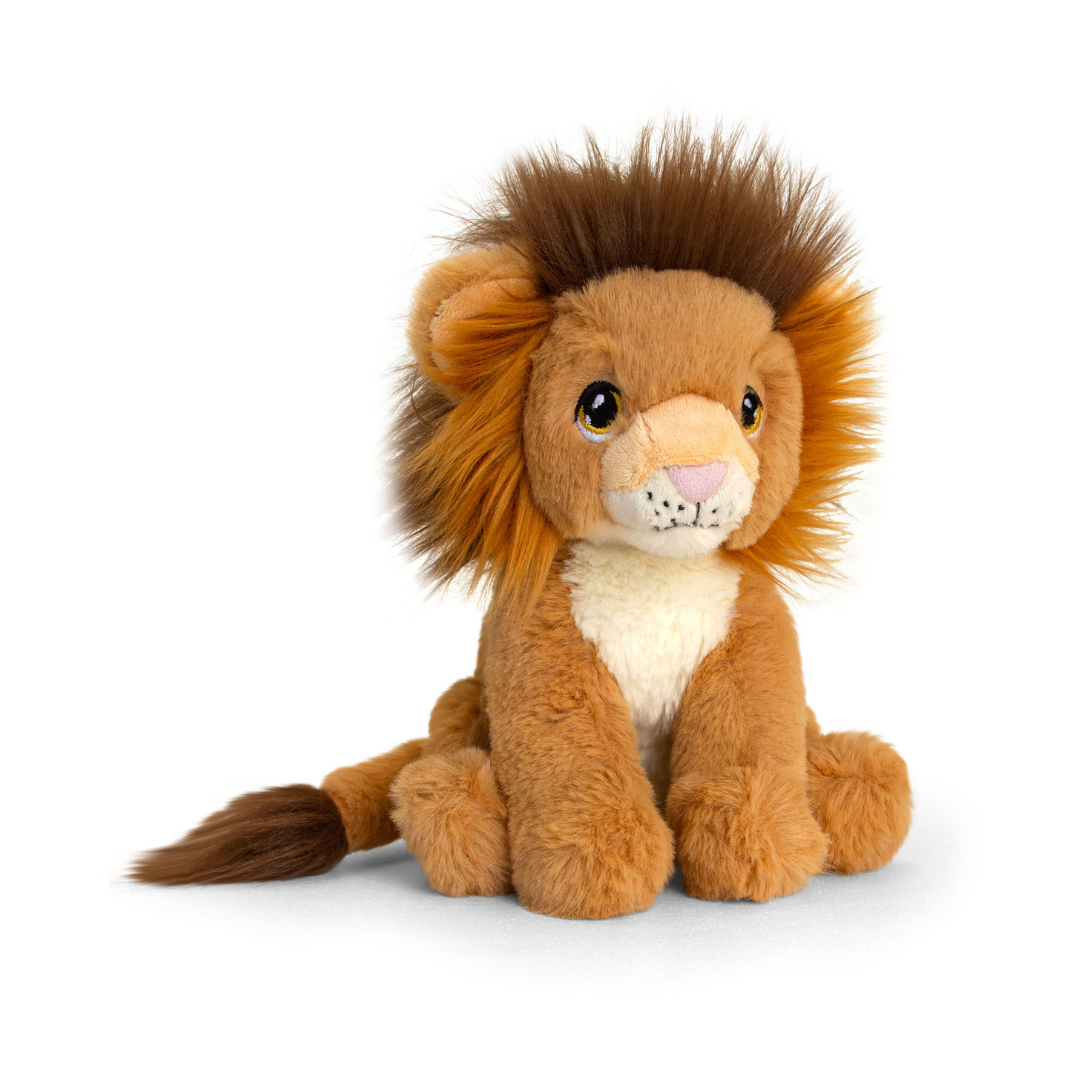 Cuddly, soft lion toy.