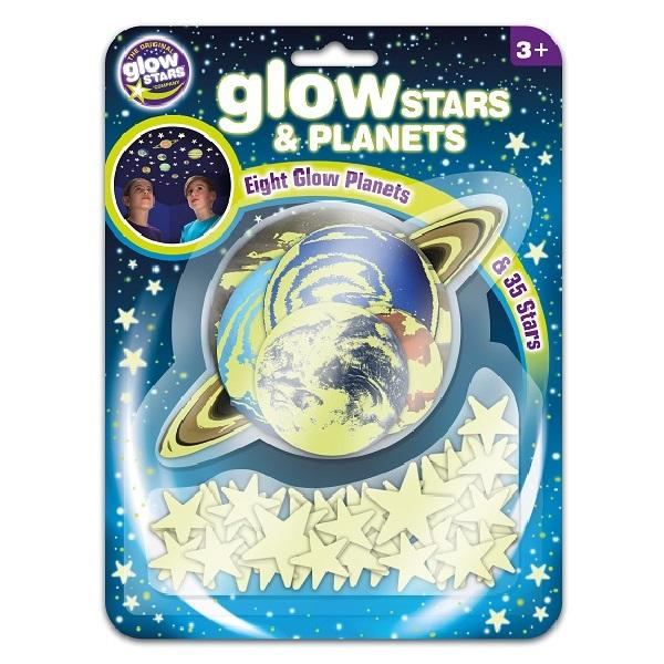 Package with adhesive stars and planets stickers that glow in the dark.