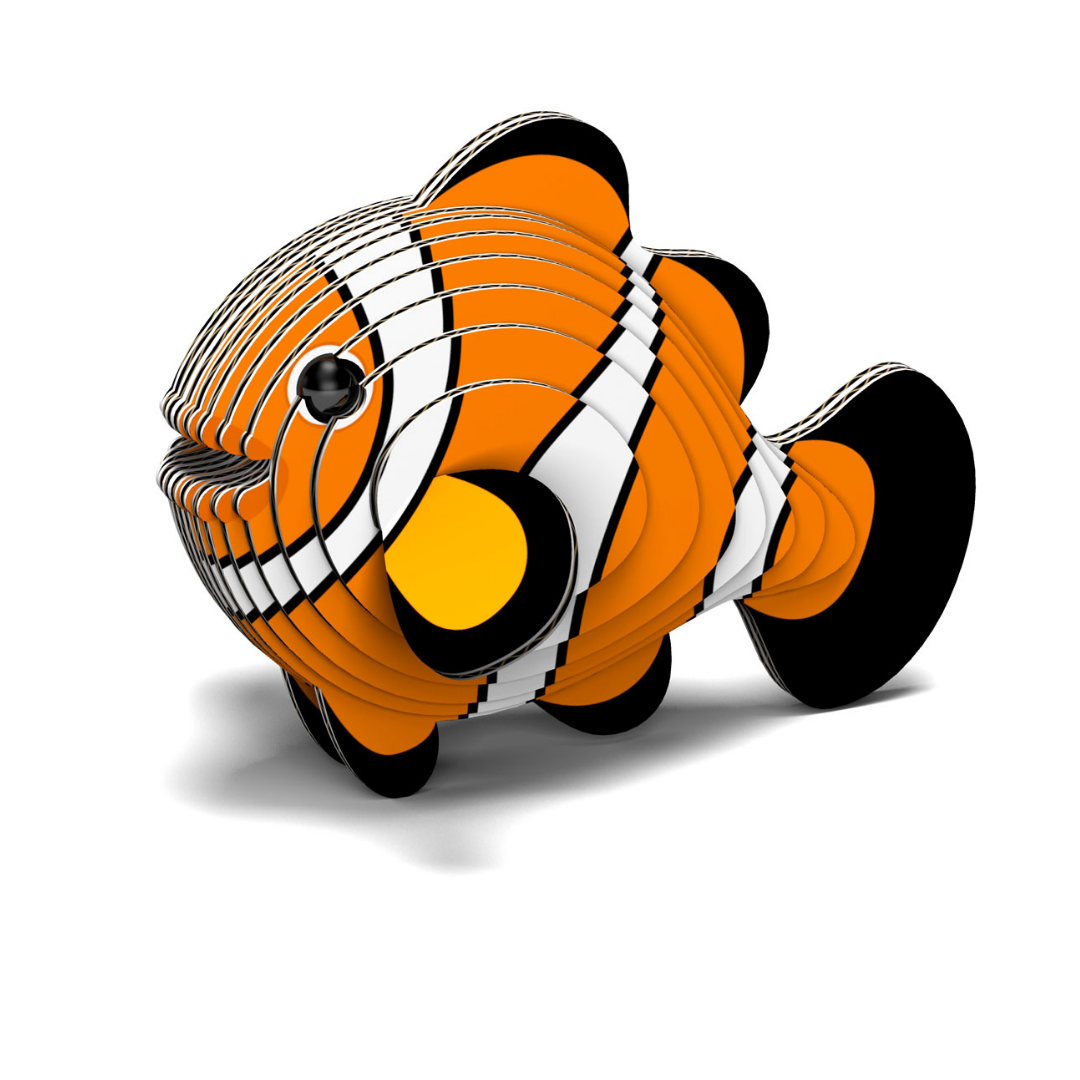3d model of a clown fish using biodegradable card and non toxic glue. Cardboard 3D model