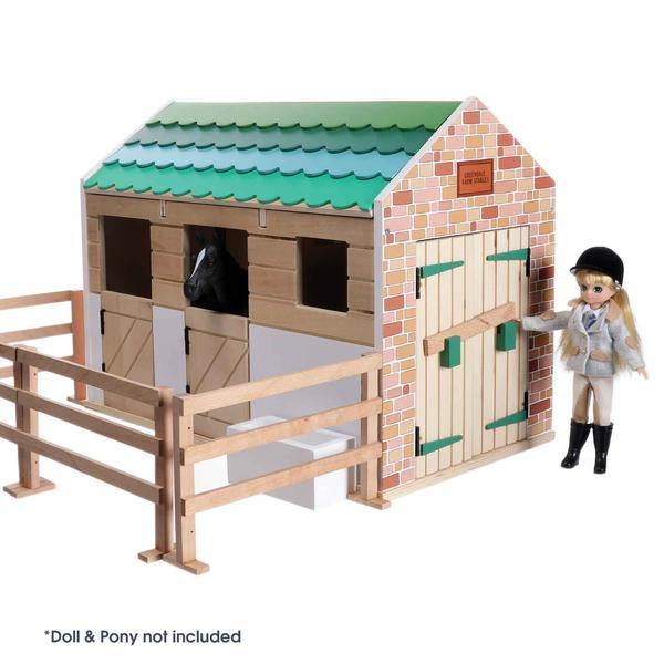 Lottie Doll Stable Block with small fenced area and stable doors