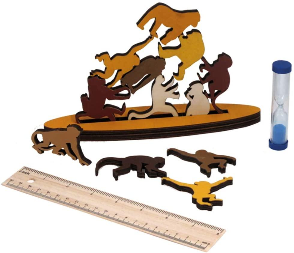 Wooden stacking game with pieces shaped like monkeys.