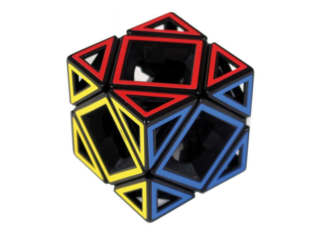 Hollow pieces making up a puzzle cube.