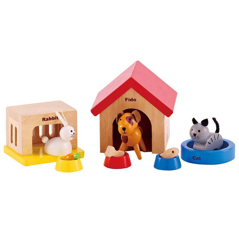 Rabbit, dog and a cat dolls house pets with a kennel, hutch, basket and bowls
