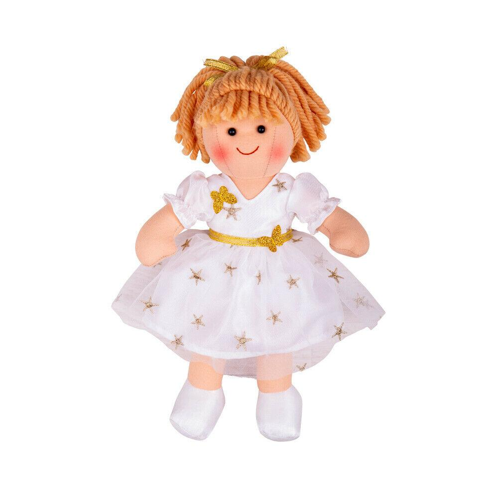 Charlotte rag-doll wearing a white dress with gold stars.