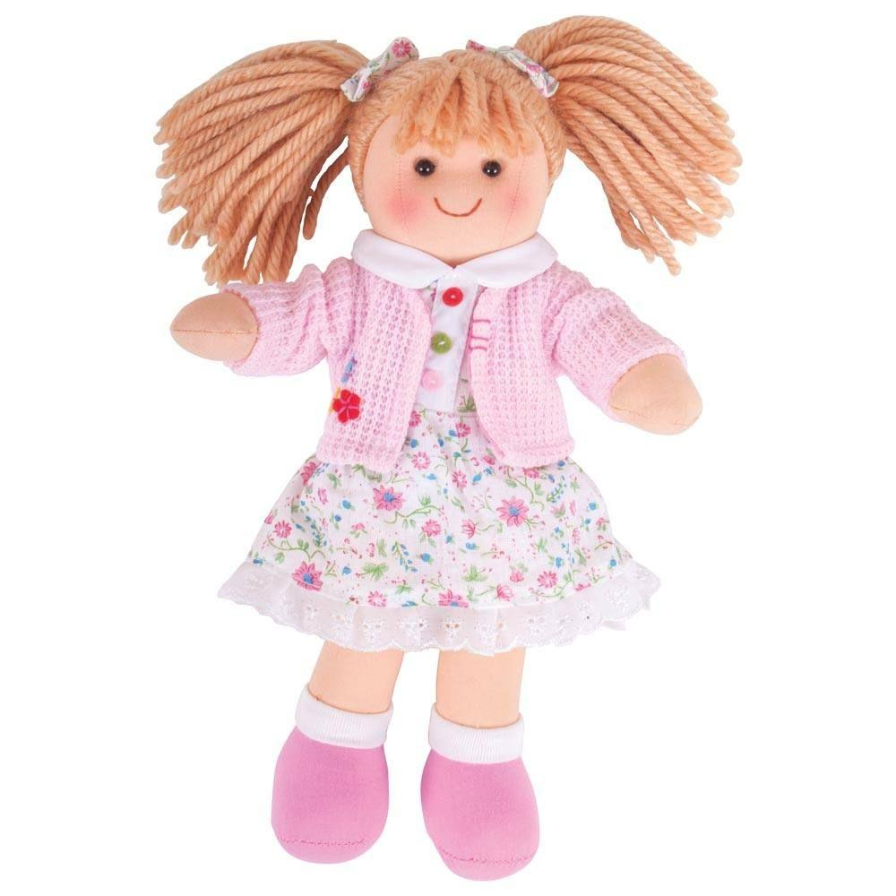 Soft, cuddly rag-doll toy wearing a floral dress and wink cardigan.