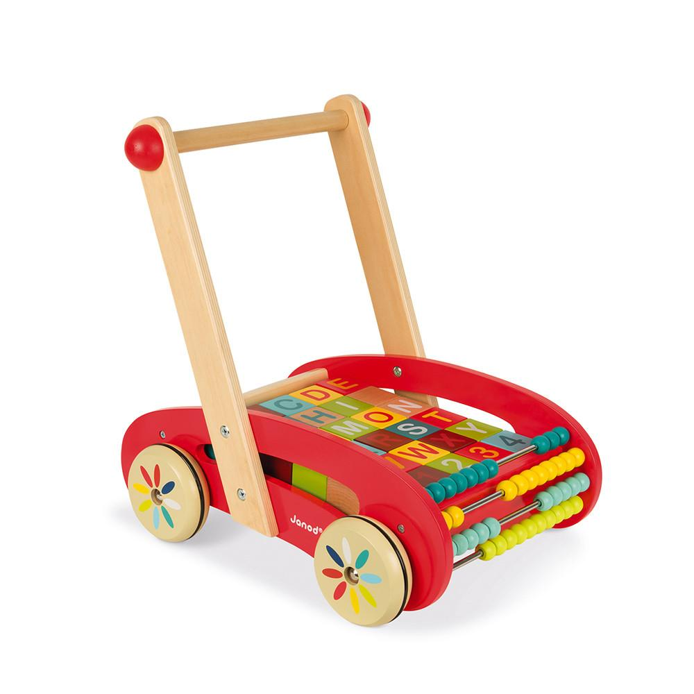 Wooden baby push-along walker with blocks.
