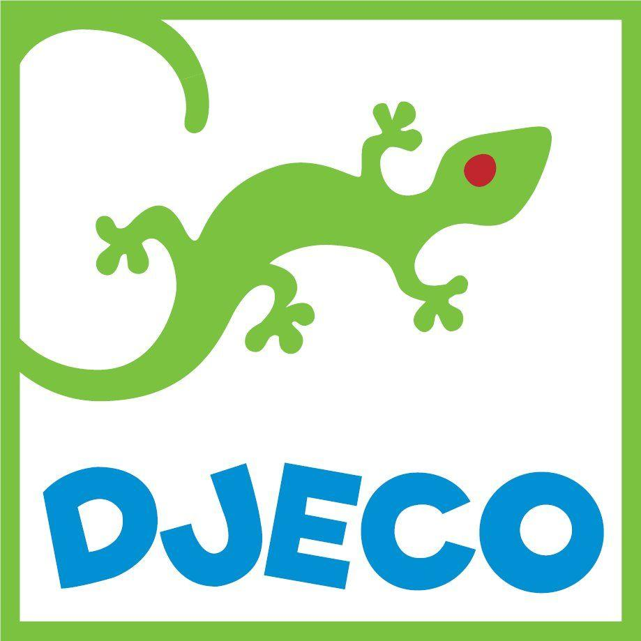 Green and white Djeco logo with a lizard.