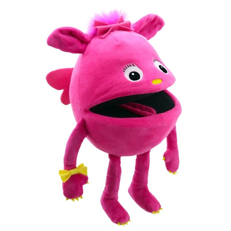 Cute, pink monster hand puppet