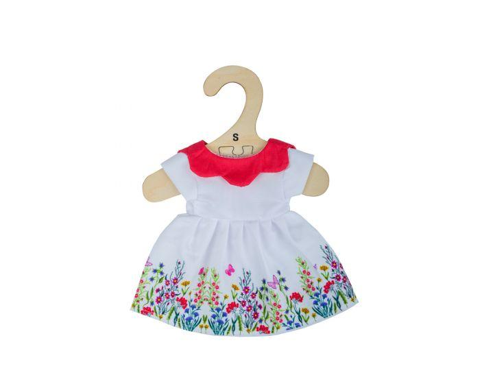 Pretty white dress edged with flowers and witha  red collar for a ragdoll.