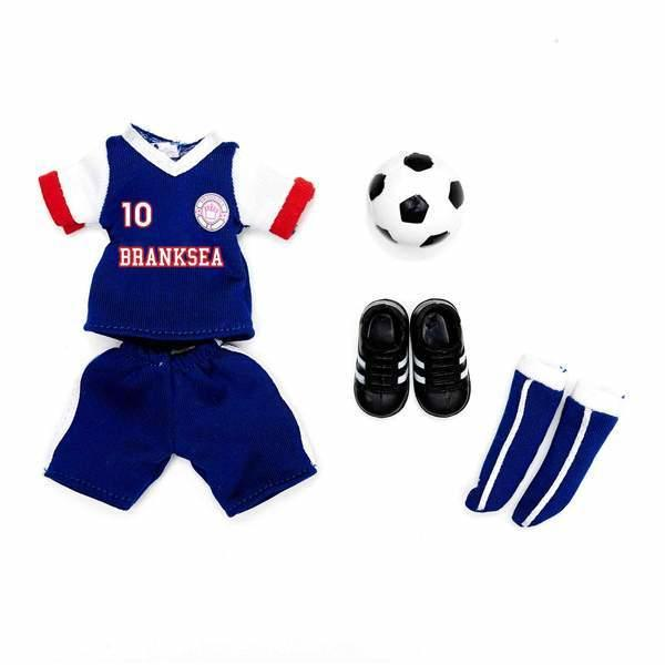Football Outfit for Lottie Doll. Blue and white football strip, boots and football.