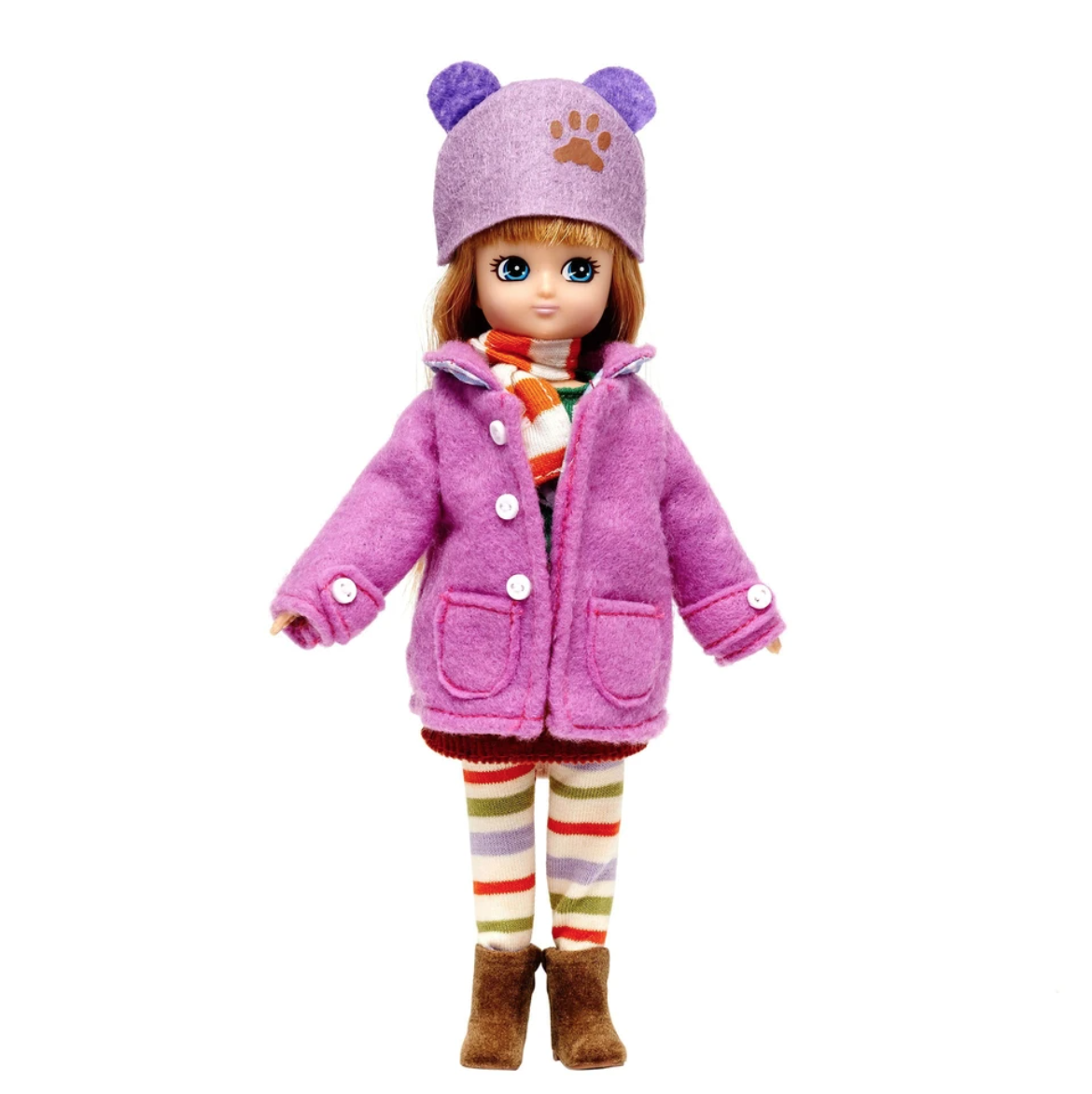 Autumn Lottie Doll with cosy outfit including pink duffel coa, scarf and boots.