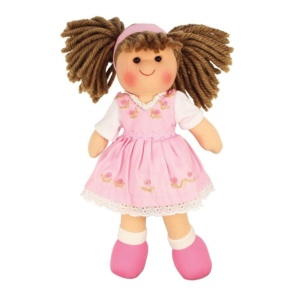 Cuddly Rose rag-doll wearing a pale pink dress embroidered with pink roses and trimmed with white.