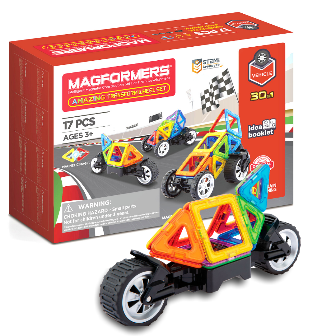 Manufacturer's packaging for Magformers set with kart in front.