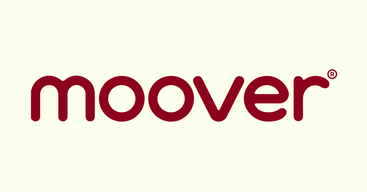 Moover Toys red logo on cream background.