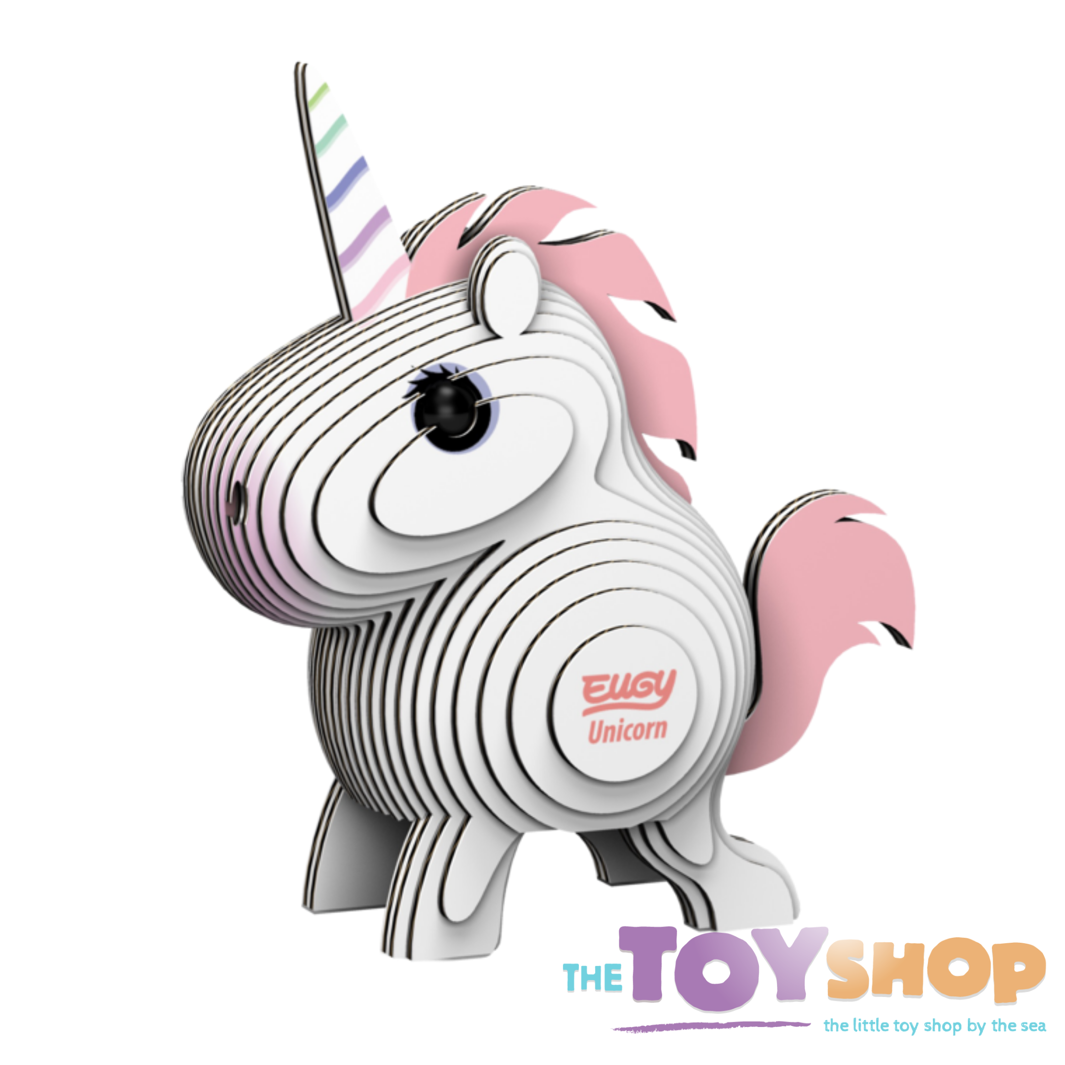 3D model of a Eugy Unicorn made from card pieces.