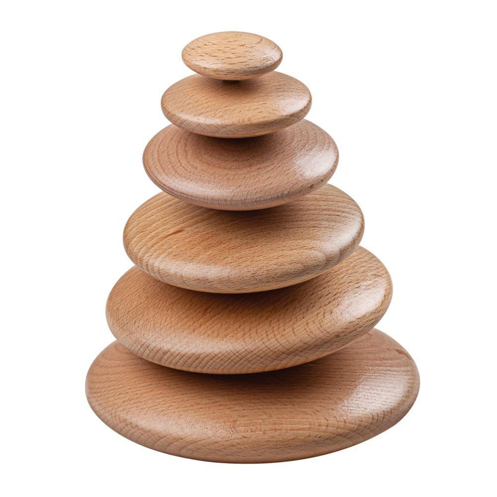 6 smooth wooden play pebbles for stacking and balancing.