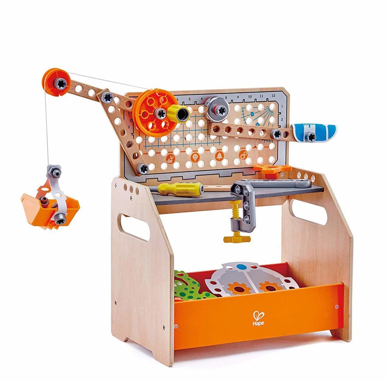 Hape Scientific Work Bench and tools to build and learn. Includes instructions for over 10 creations. Age 4+