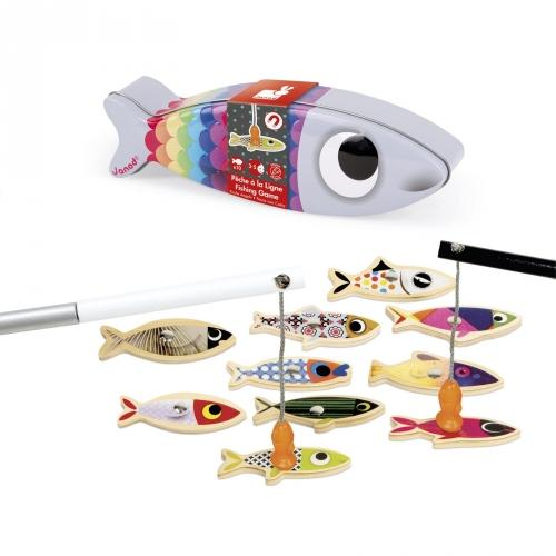 Sardine-shaped tin with play fishing rods and fish-shaped peices.