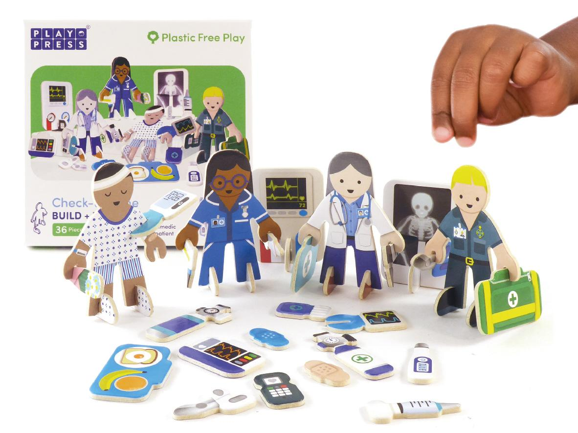 Cardboard Medical Team Play pieces showing medical staff and 1 patient.
